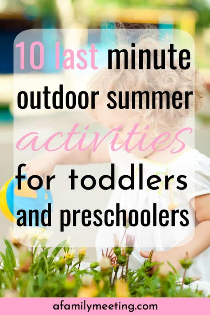 little girl watering flowers with watering can while enjoying summer activites for toddlers and preschoolers