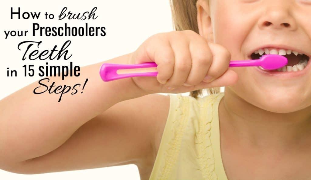 How to brush your preschoolers teeth in 15 simple steps. Little girl brushing teeth.