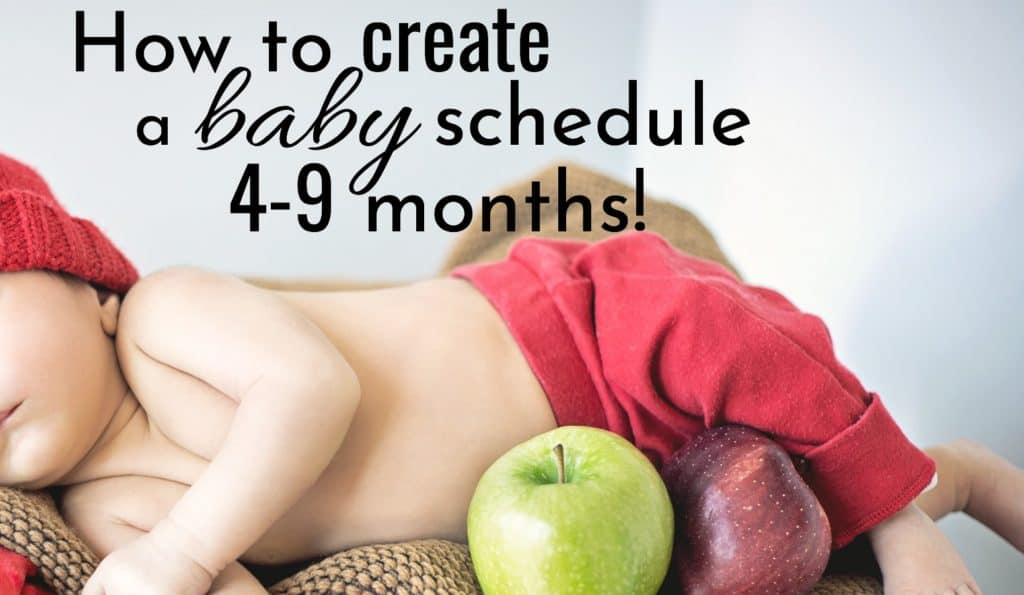 baby sleeping on burlap sack - How to create a baby schedule 4-9 months.