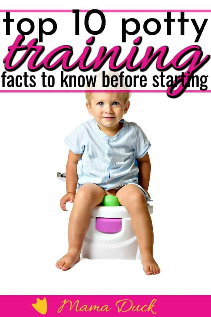 little boy sitting on the potty with potty training facts before getting started