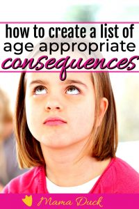 little girl rolling her eyes at age appropriate list of consequences for kids