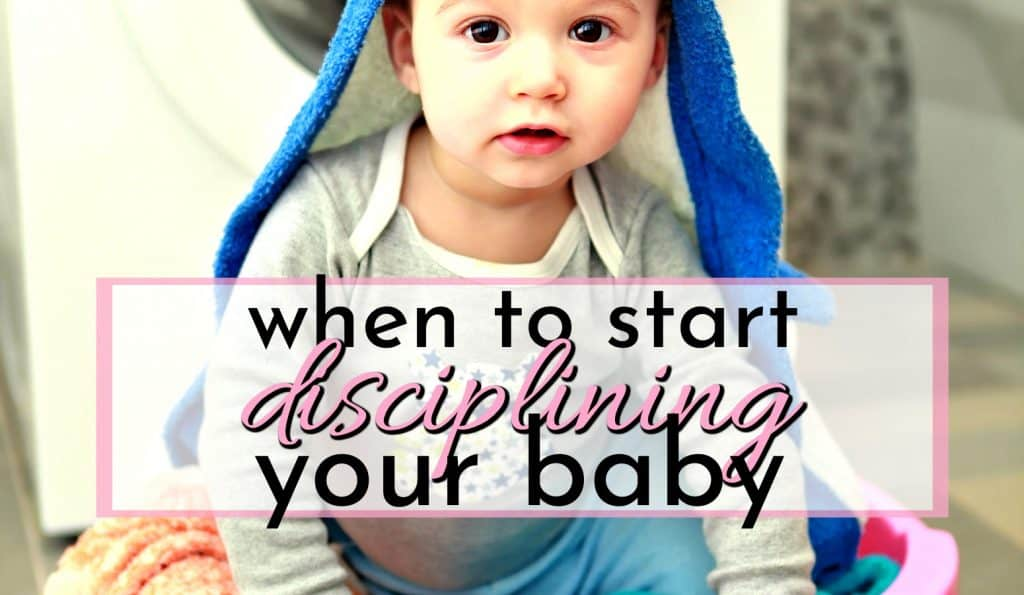 baby in a laundry basket making a mess when to start disciplining a baby