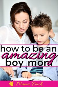 mom with son reading a book being an amazing boy mom