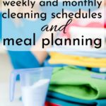 woman doing laundry using a house cleaning schedule