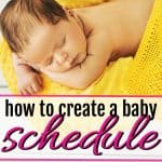 cute baby sleeping on a yellow blanket in a basket after mom learned how to create a baby schedule