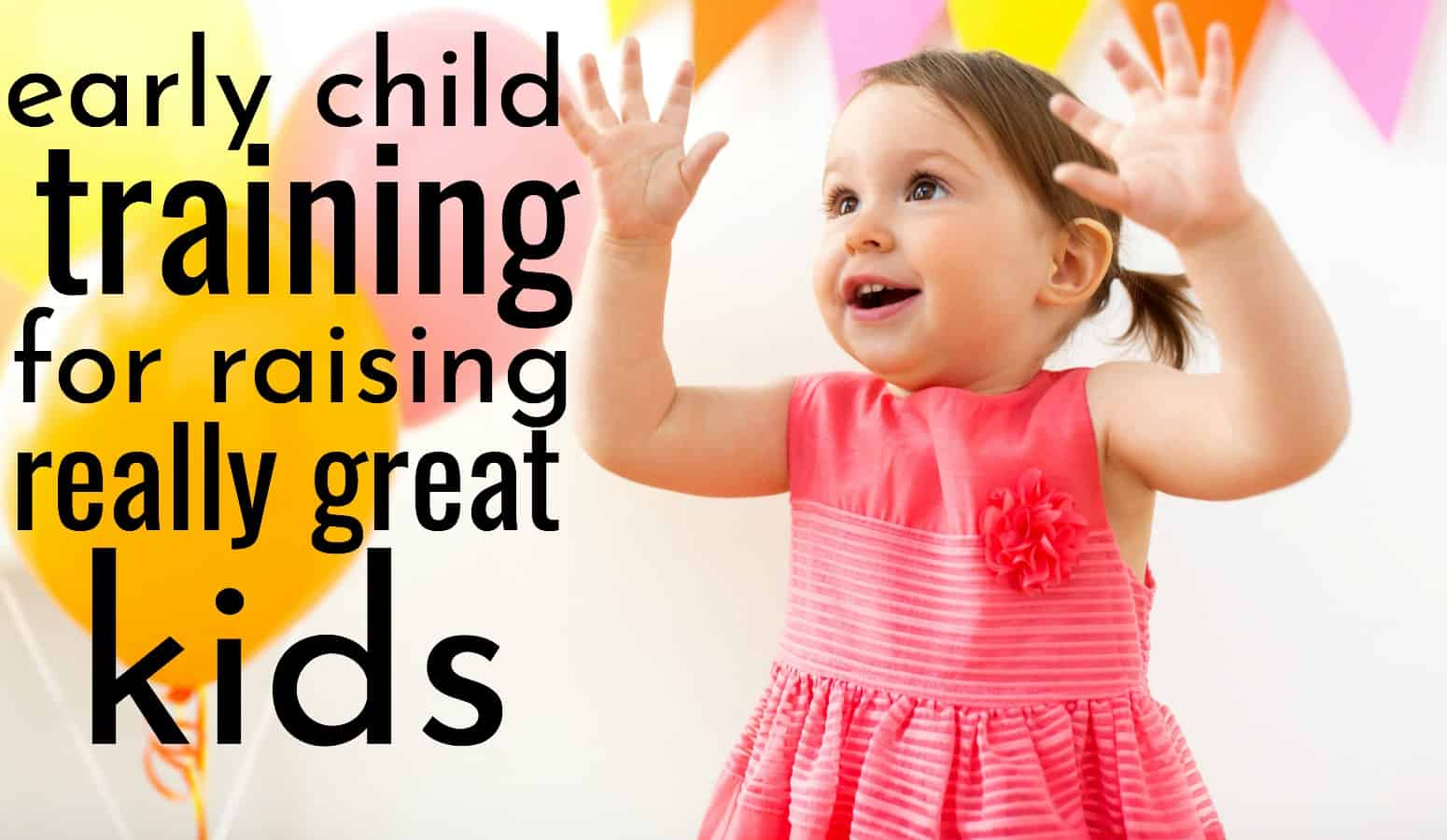 happy little girl being a good kid, raising her hands with joy, because of early child training