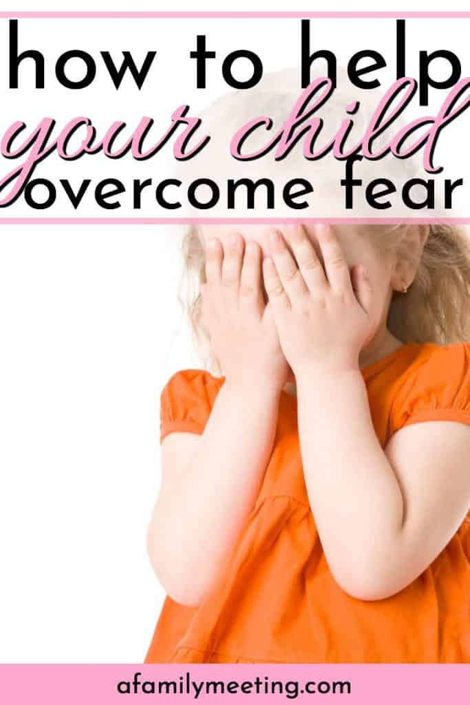 little girl in orange covering her eyes because she is afraid and needs to How to Help Your Child Overcome Fear Using Christian Apologetics