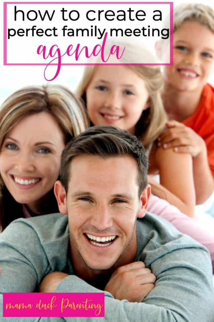 family happy after creating a family meeting agenda