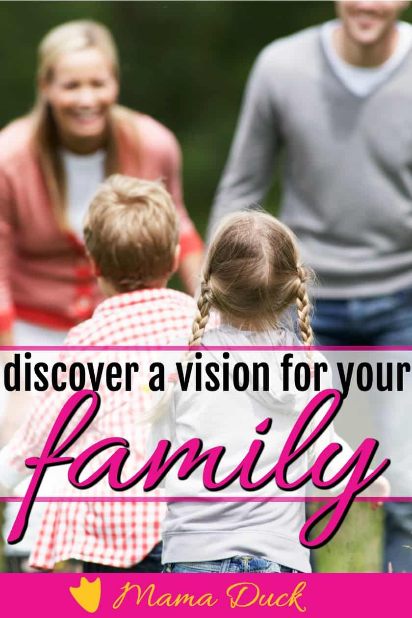 two children running toward parents who have discovered how to have a family vision and mission statement
