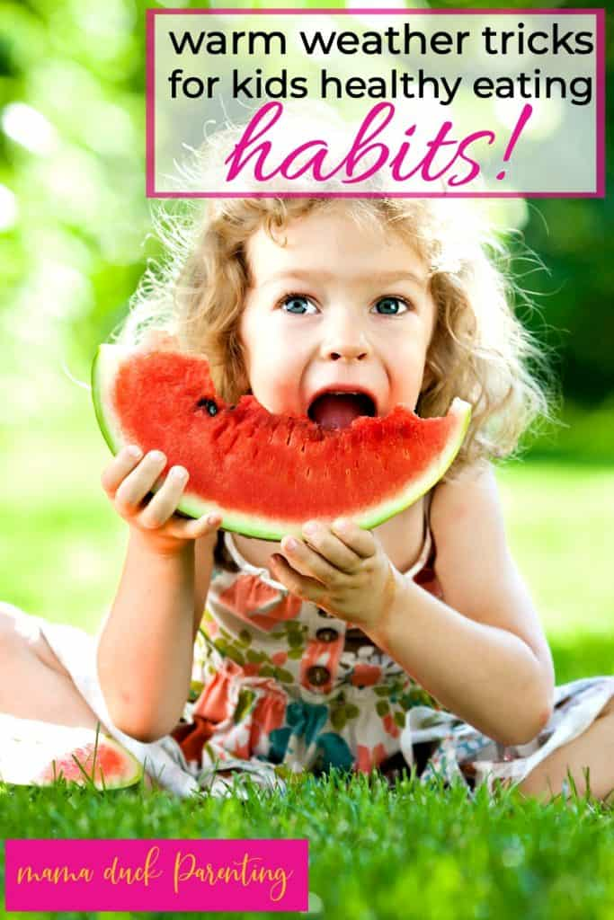 little girl with healthy eating habits for kids eating watermelon during the summer