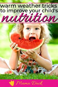 little girl with curly blonde hair improving child nutrition eating watermelon