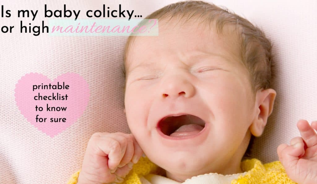 crying baby on pink blanket whose mom needs to learn how to tell if your baby has colic