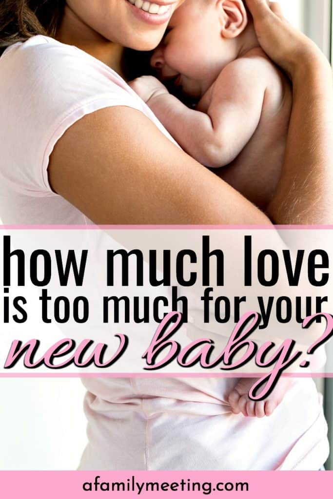 new mom holding newborn baby thinking that she loves her baby so much it hurts. love your baby