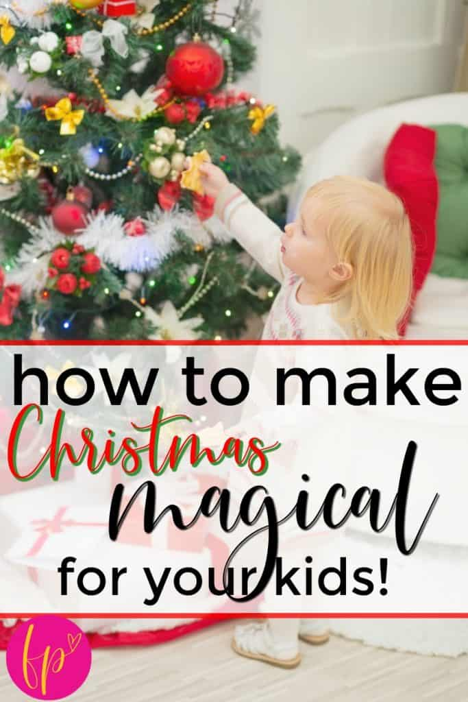 blonde child decorating Christmas tree when mom make Christmas magical