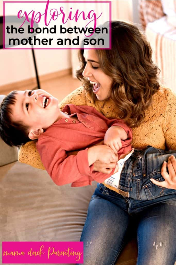 beautiful mom and her son playing around on the couch while having fun with mom and boys