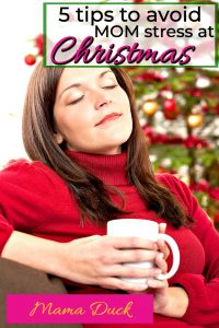 happy mom drinking coffee who will avoid mom stress during the holidays