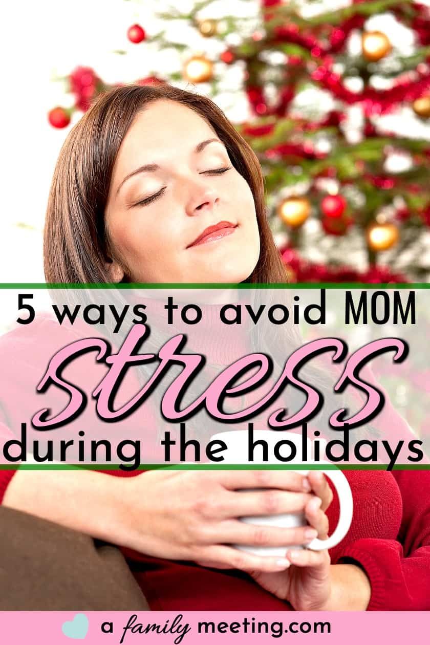 mom relaxing with a cup of coffee while avoid mom stress during the holidays