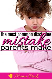 little girl in pink pouting over common discipline mistake parents make