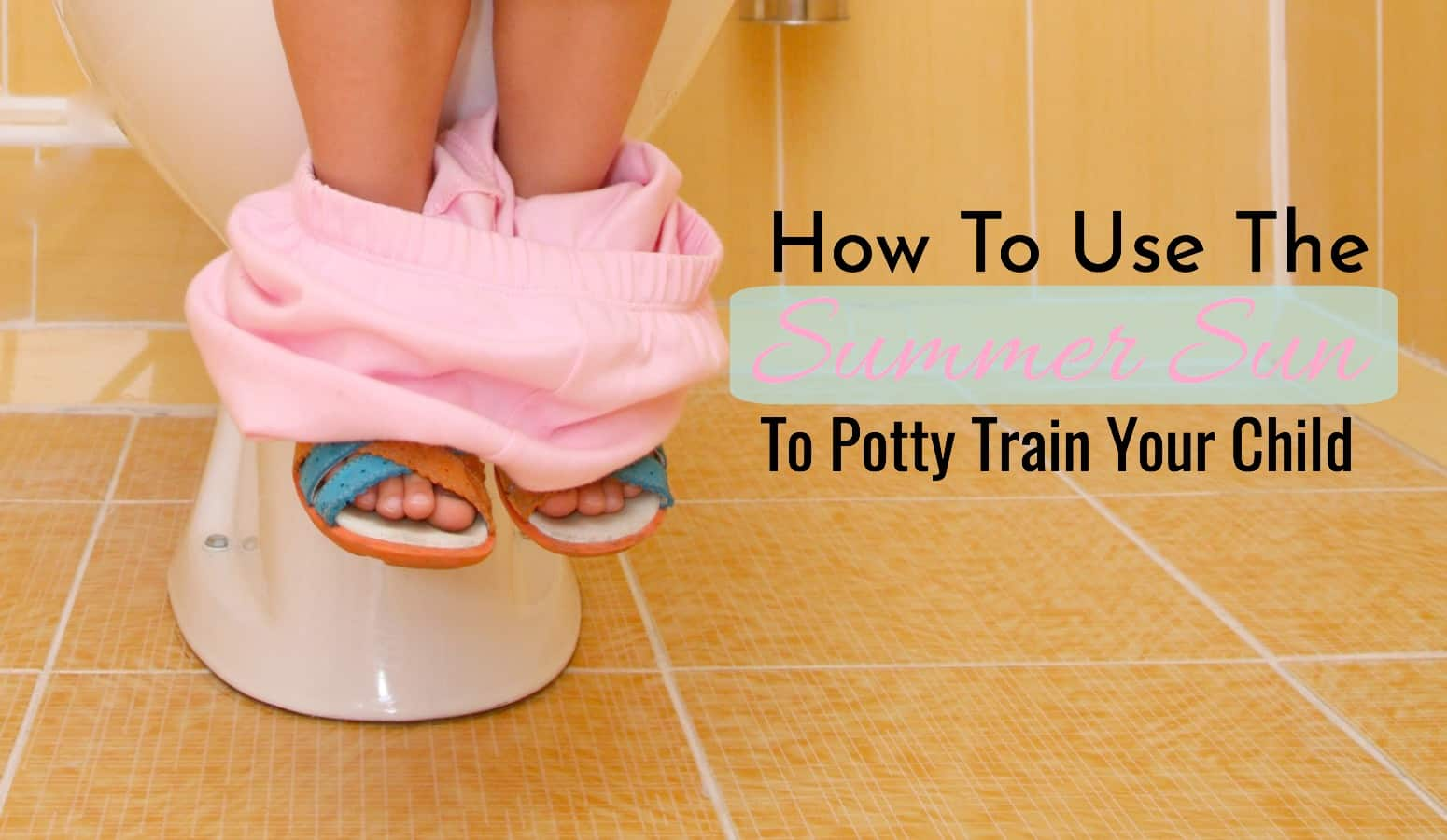 child's legs sitting on the potty while potty training by the age of 2