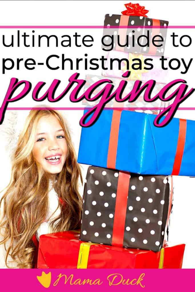 pretty little girl giving away christmas gift for purging toys before Christmas