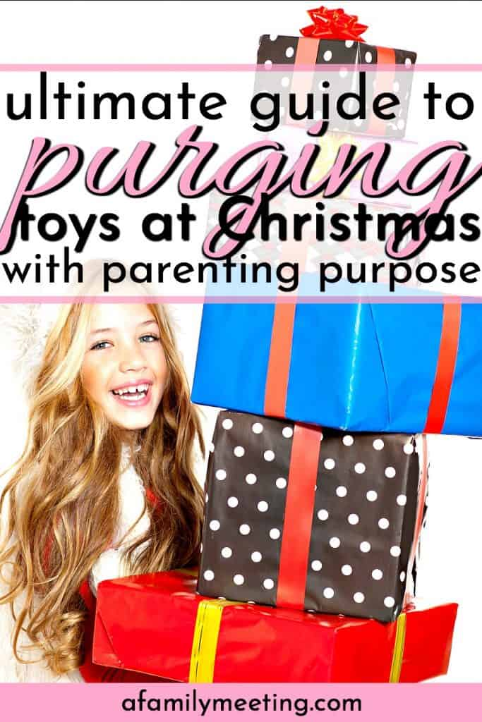 girl donating gifts after purging toys before Christmas