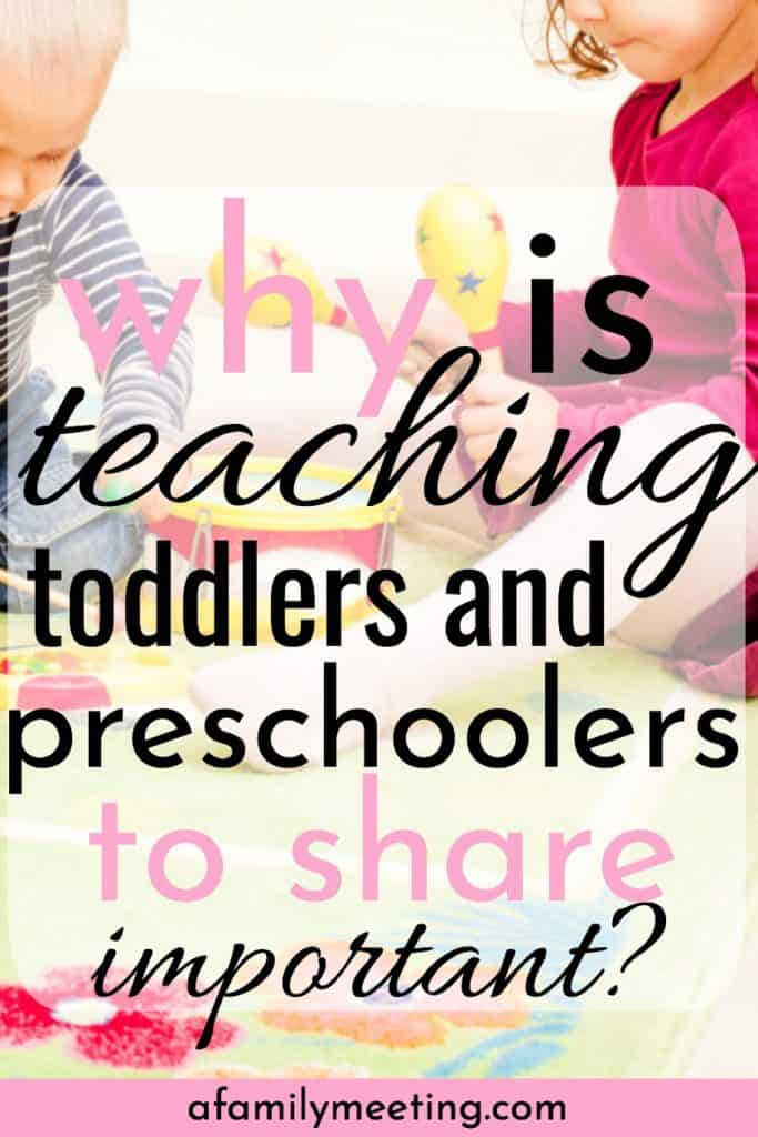 two preschoolers sharing with text why is teaching toddlers and preschoolers to share important?
