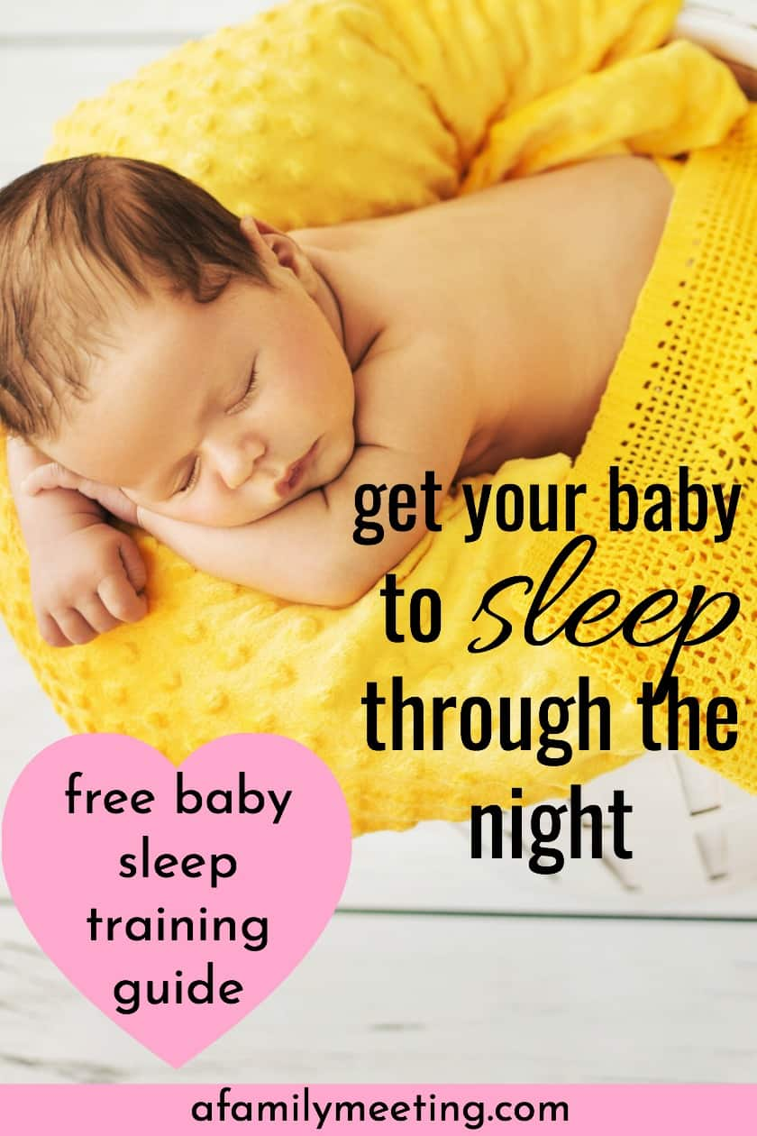 sleeping through the night baby in yellwo basket