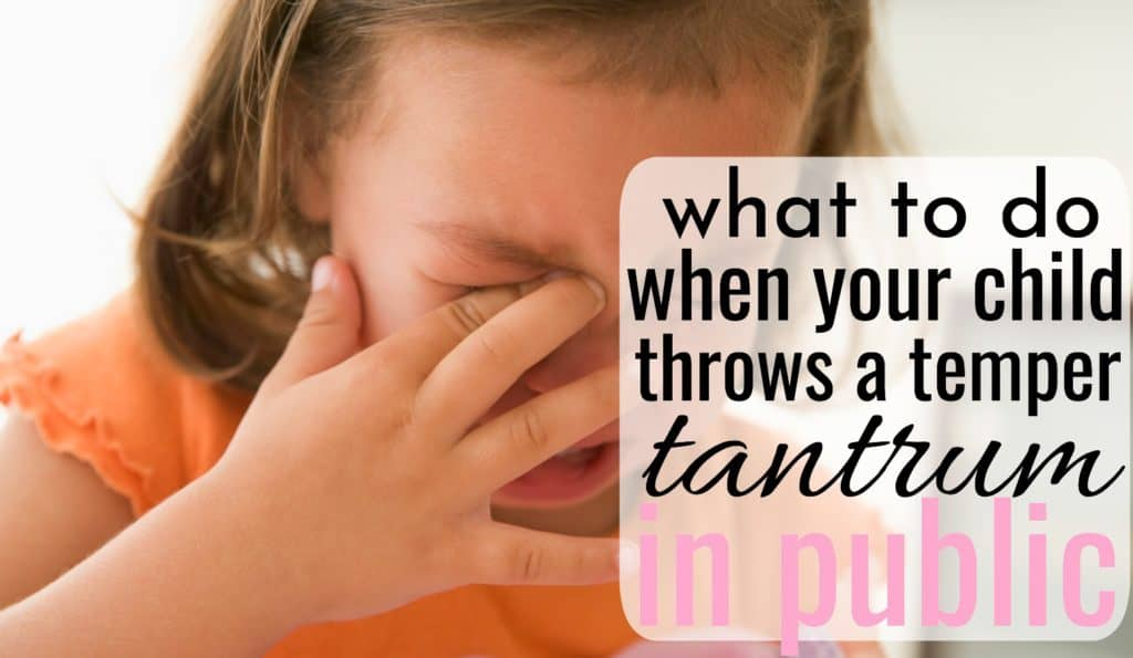 crying little girl throwing a tantrum in public. her mom needs to know what to do when her child throws a tantrum in public