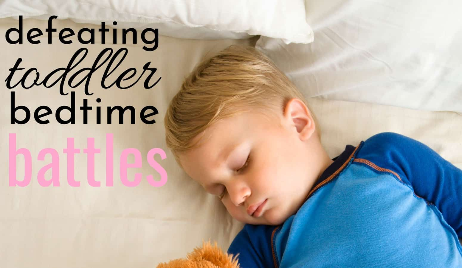 toddler boy sleeping peaceful after defeating toddler bedtime tantrums