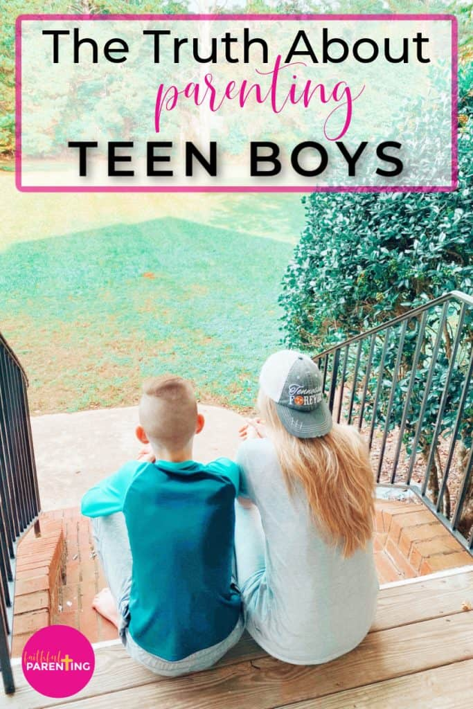 mom and son sitting on the front porch chatting about the truth about parenting teen boys