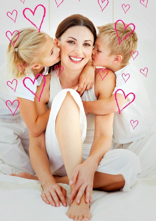 beautiful mom and two children connecting by celebrating valentine's day with your kids
