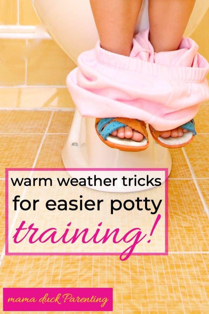 child's feet toilet tips to make potty training easier